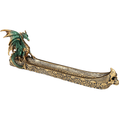 Golden Skull Boat Dragon Incense Holder