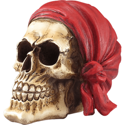 Pirate Skull with Red Bandana Statue