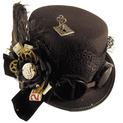 Black Geared Steampunk Riding Hat With Goggles