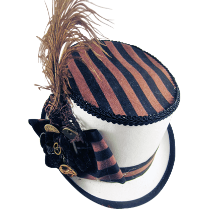 Black and Brown Topped White Steampunk Riding Hat