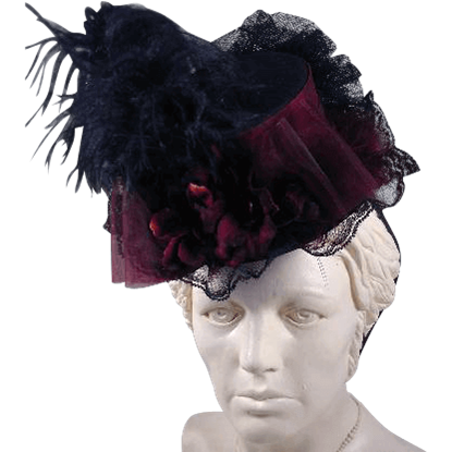 Burgundy Mini Felt Top Hat
