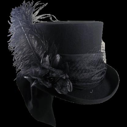 Mad Hatter Black Felt Top Hat