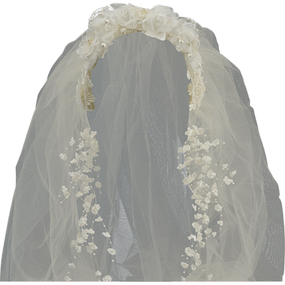 Ivory Victorian Headband with Long Veil