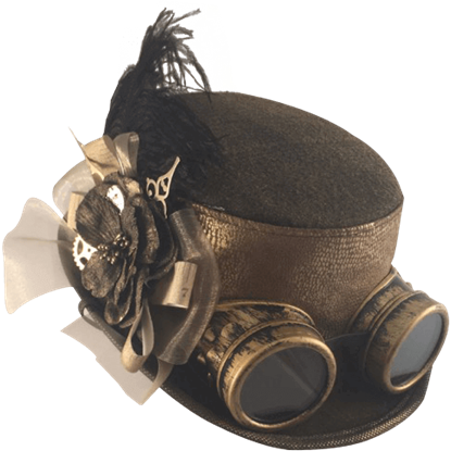 Golden Snake Band Steampunk Hat with Goggles