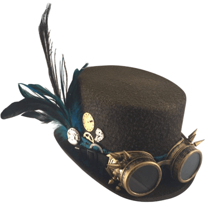 Ladys Brown Steampunk Hat with Spiked Goggles