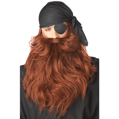 Red Pirate Beard and Moustache