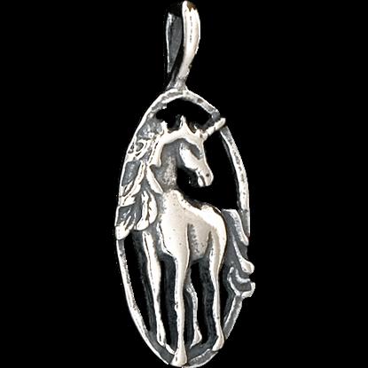 Oval Unicorn Pendant