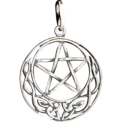 Celtic Crescent Moon Pentacle Pendant