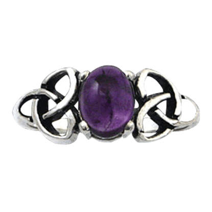 Double Triquetra Ring with Gemstone