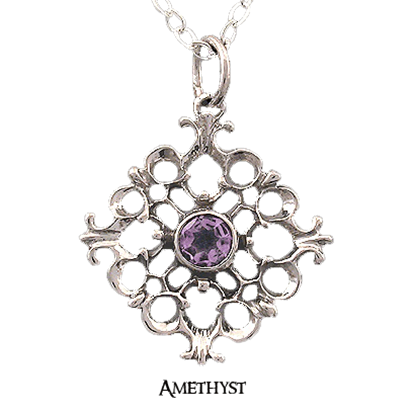 Sterling Silver Baroque Gemstone Necklace