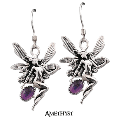 Silver Nouveau Fairy Earrings with Gemstones