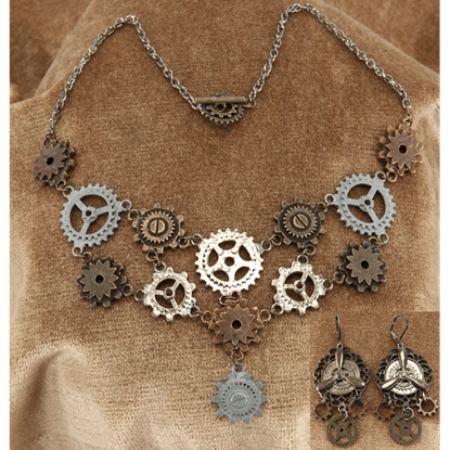 Steampunk Multi-Gear Necklace and Earring Set