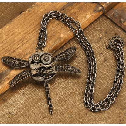 Steampunk Dragonfly Gears Necklace