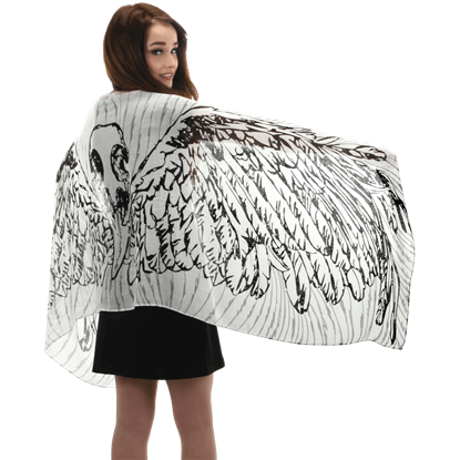Lightweight White Feather Wing Scarf