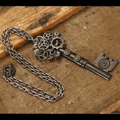 Large Antique Key Gear Necklace