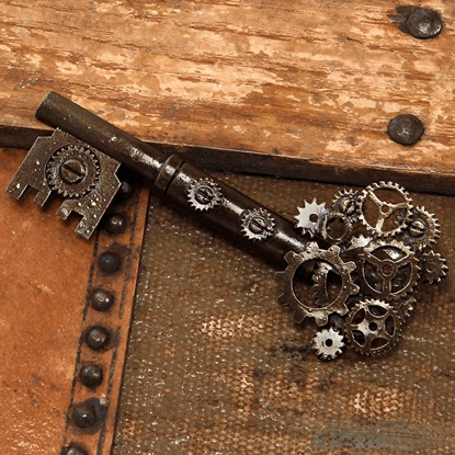 Large Antique Key Gear Pin