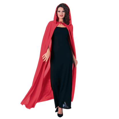 Full Length Red Hooded Costume Cape