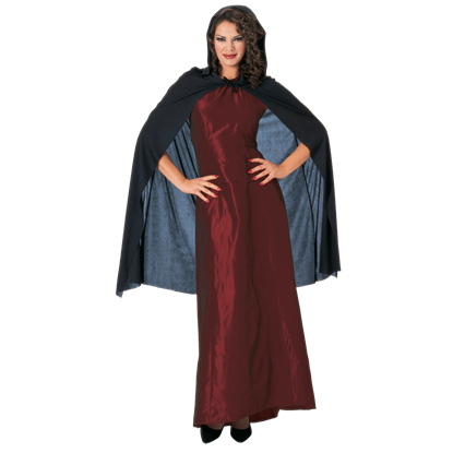 45 Inch Black Hooded Costume Cape