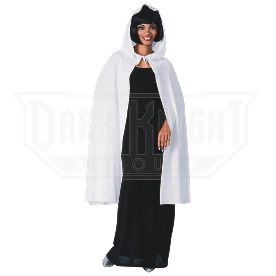 45 Inch White Hooded Costume Cape