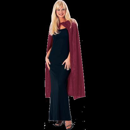 45 Inch Burgundy Panne Velvet Costume Cape