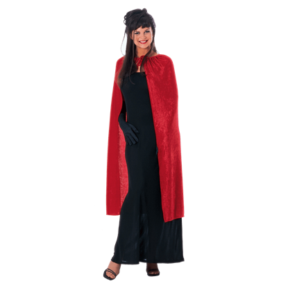 45 Inch Red Panne Velvet Costume Cape