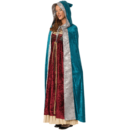 Silver Brocade Blue Velvet Cape