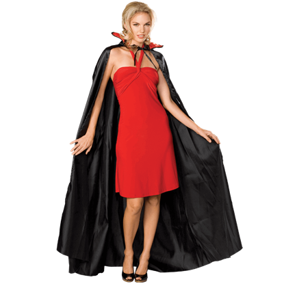 Long Black Satin Costume Cape