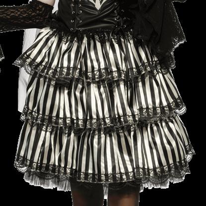 Gothic Striped Ruffle Skirt