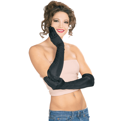 Black Nylon Long Gloves