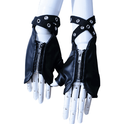 Gothic Zippered Fingerless Gloves