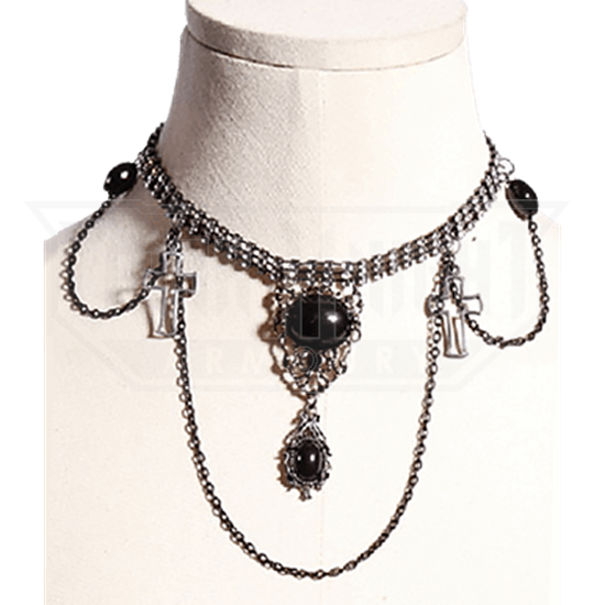 Gothic Black Stone and Cross Necklace