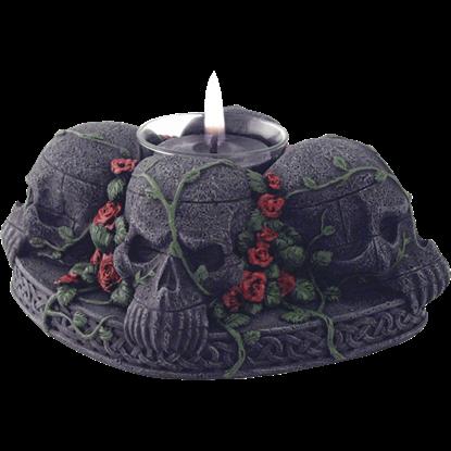 Wiccan Skull Tea Light Holder