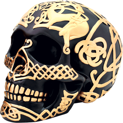 Black and Gold Celtic Skull