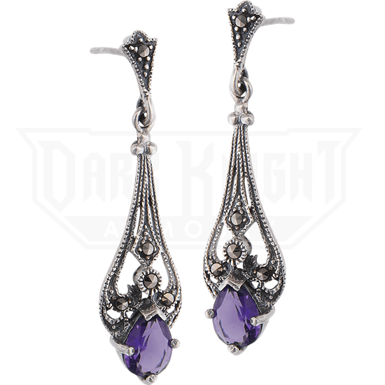 Amethyst Marcasite Drop Earrings