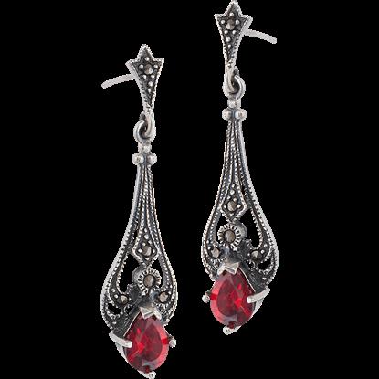 Garnet Marcasite Drop Earrings