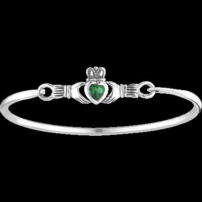 Green Gem Claddagh Bangle Bracelet