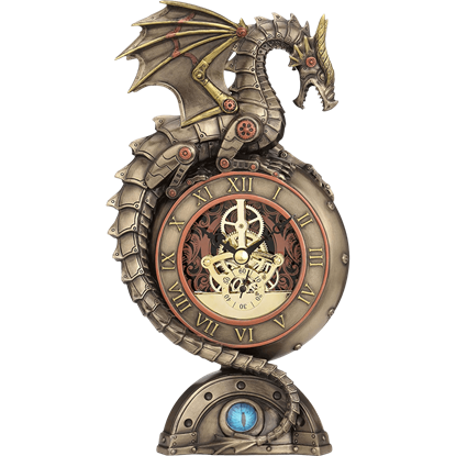 Steampunk Dragon Table Clock