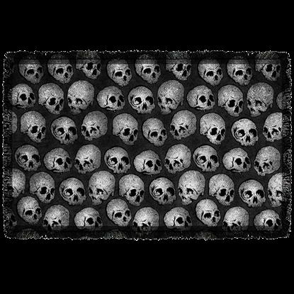 Gray Skull Woven Blanket