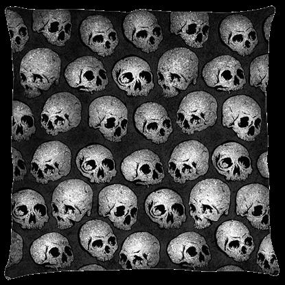 Large Gray Skull Pillow