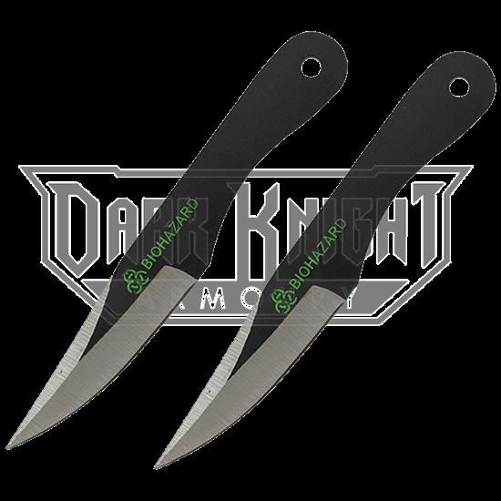2 Piece Biohazard Black Drop Point Throwing Knives