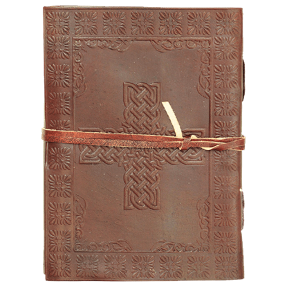 Celtic Cross Leather Journal with String