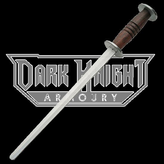 Medieval Warrior 14TH Century Three Edged Rondel Dagger w// Leather Scabbard