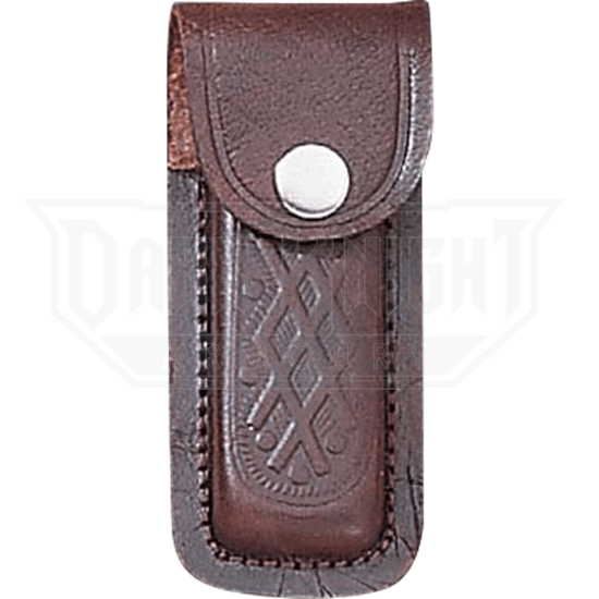 4 Inch Printed Brown Leather Sheath
