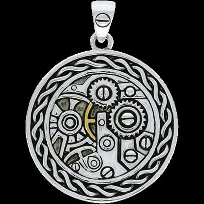 Steampunk Round Knotwork Gear Pendant