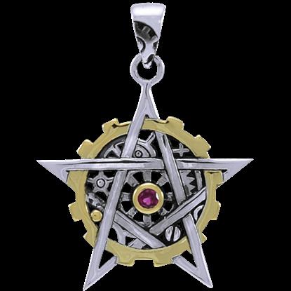 Steampunk Gear Pentacle Pendant