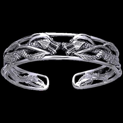 Sterling Silver Twin Dragon Bangle Bracelet