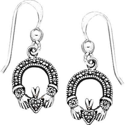 Claddagh Earrings with Marcasite