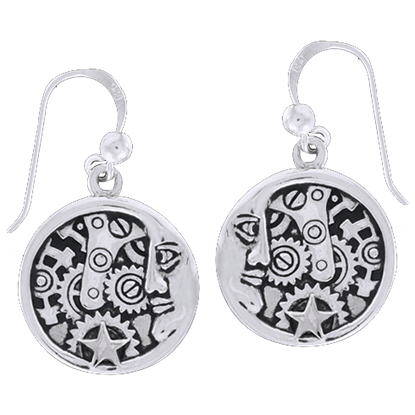 Clockwork Moon Man Earrings
