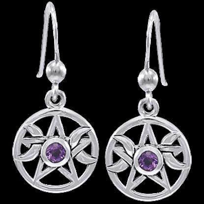 Pagan Moon Pentacle Earrings