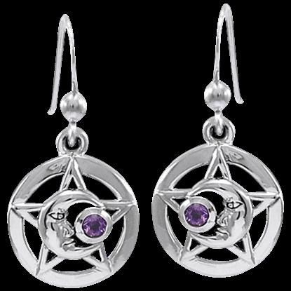 Silver Moonman Pentacle Earrings